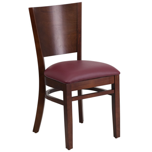"""33.50"""" Brown and Red Lacey Solid Back Walnut Wood Restaurant Chair with Burgundy Vinyl Seat - IMAGE 1"""
