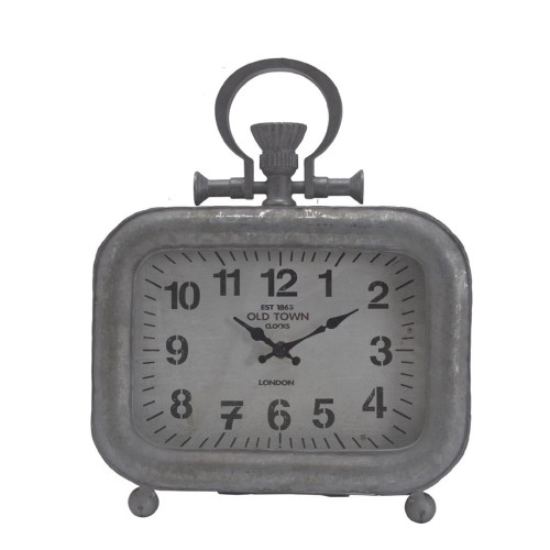 "11.25"" Silver and Black Classic Vintage Rectangular Short Table Clock - IMAGE 1"