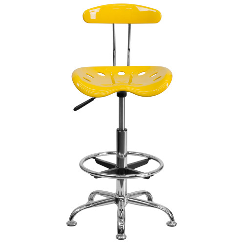 """41"""" Yellow Tractor Swivel Seat Drafting Stool with Chrome Foot Ring - IMAGE 1"""