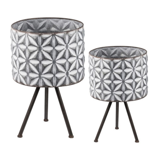 """Set of 2 Gray and White Contemporary Large Round Planters on Stands 19"""" - IMAGE 1"""