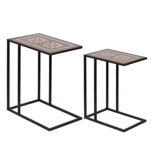 "Set of 2 Black and Brown Classic Vintage Style Inlaid Nesting Tables 24"" - IMAGE 1"