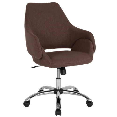 3.25' Brown, Silver, and Black Contemporary Upholstered Mid-Back Chair - IMAGE 1