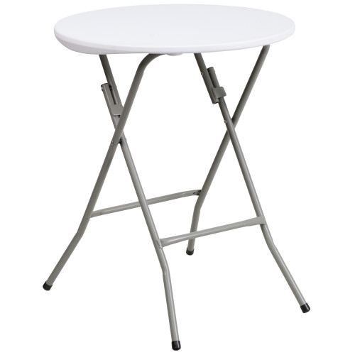 "29.25"" White Round Contemporary Outdoor Patio Folding Table - IMAGE 1"