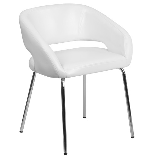 """28.75"""" White and Silver Contemporary Side Reception Chair - IMAGE 1"""