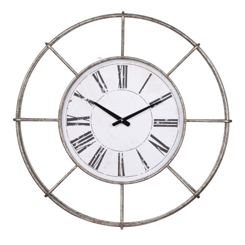 """28.5"""" White and Bronze Contemporary Wall Round Clock - IMAGE 1"""
