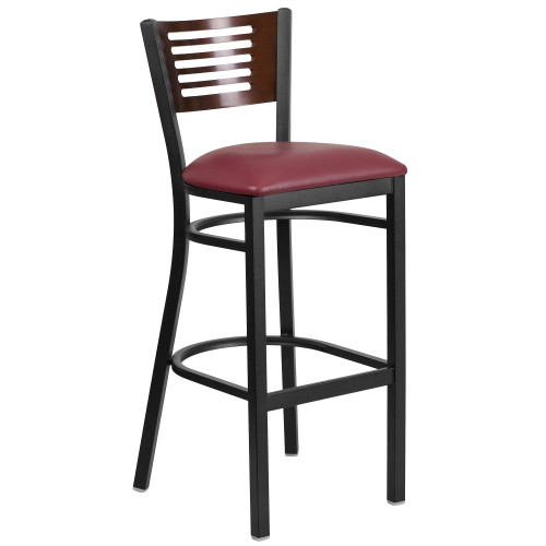 "43"" Burgundy Red and Black Hercules Series Slat Back Restaurant Barstool - IMAGE 1"