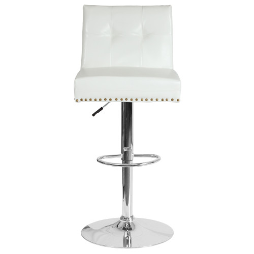 "46.5"" White Faux Leather Tufted Back Swivel Adjustable Height Bar Stool with Chrome Base - IMAGE 1"