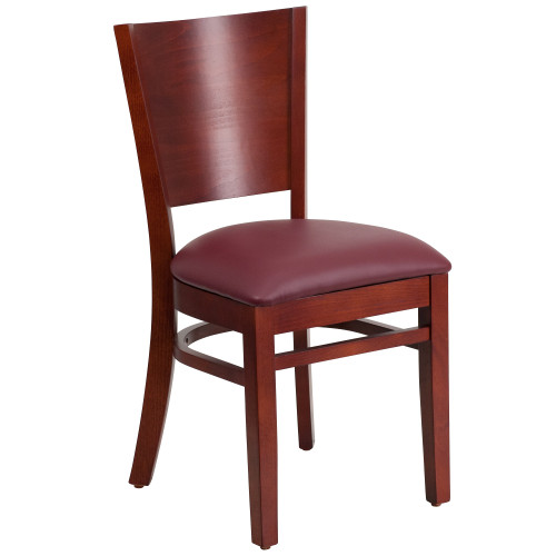 """33.5"""" Burgundy Red Traditional Solid Back Restaurant Dining Chair - IMAGE 1"""