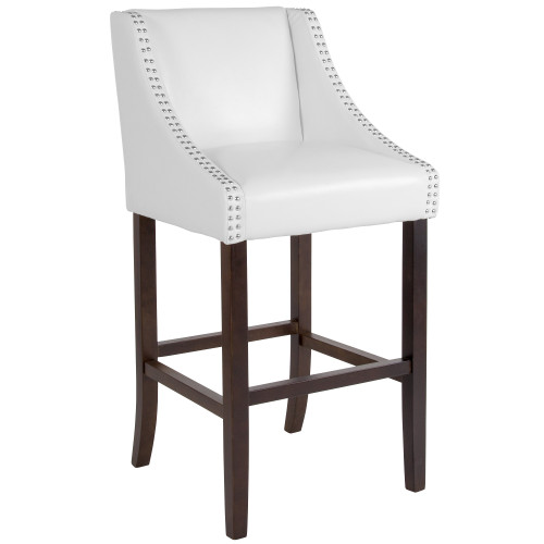 """42"""" White Bar Height Stool with Accent Nail Trim - IMAGE 1"""