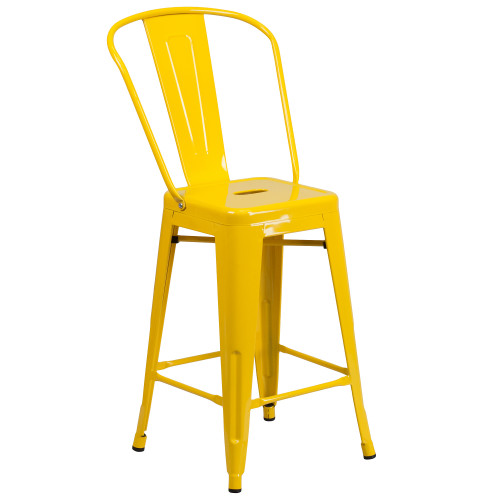 """39.25"""" Yellow Contemporary Outdoor Patio Counter Height Stool with Removable Back - IMAGE 1"""