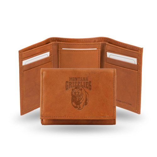 """4"""" Brown College Montana Grizzlies Embossed Trifold Wallet - IMAGE 1"""