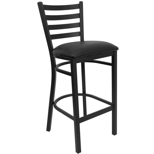 "42.25"" Black Traditional Restaurant Bar Stool with Ladder Back and Upholstered Seat - IMAGE 1"
