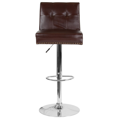 "46.5"" Brown Tufted Back Swivel Adjustable Height Bar Stool with Chrome Base - IMAGE 1"