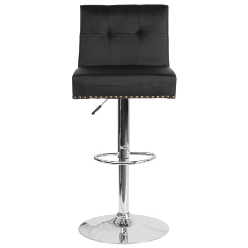 "46.5"" Black Leather Tufted Back Swivel Adjustable Height Bar Stool with Chrome Base - IMAGE 1"