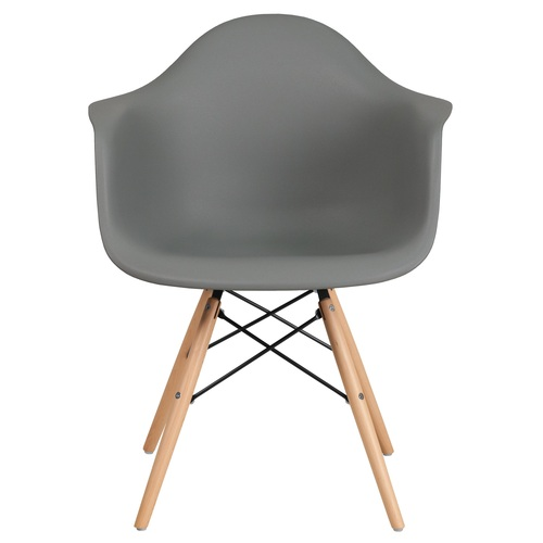 """31.25"""" Moss Gray and Brown Matte Accent Side Chair with Curved Arms - IMAGE 1"""