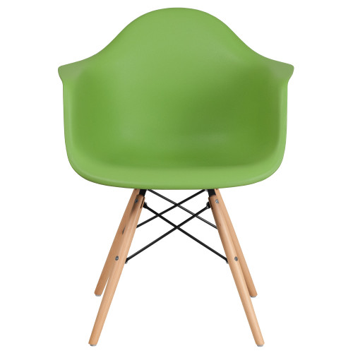 """31.25"""" Matte Green and Brown Curved Arms Side Chair with Wooden Legs - IMAGE 1"""