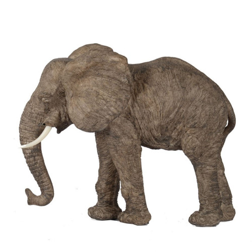 """13"""" Aged Brown and Ivory Tai Walking Elephant Accent - IMAGE 1"""