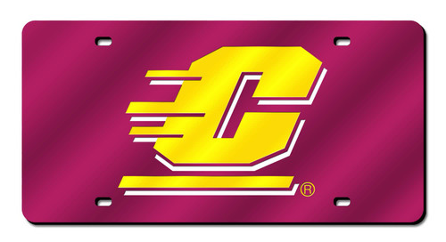 """6"""" x 12"""" Purple and Yellow College Central Michigan Chippewas Tag - IMAGE 1"""