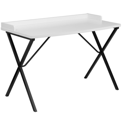 "47.25"" White and Black Contemporary Rectangular Computer Desk - IMAGE 1"