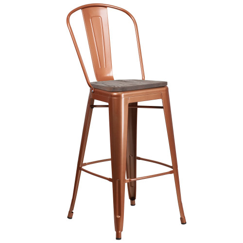 """30"""" Copper Barstool with Back and Wood Seat - IMAGE 1"""