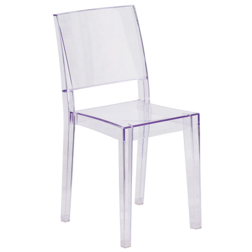 """34"""" Clear Contemporary Phantom Series Transparent Stacking Side Chair - IMAGE 1"""