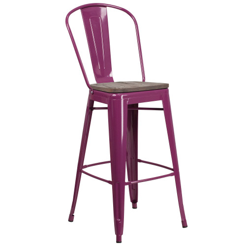 """30"""" Purple Barstool with Back and Wood Seat - IMAGE 1"""