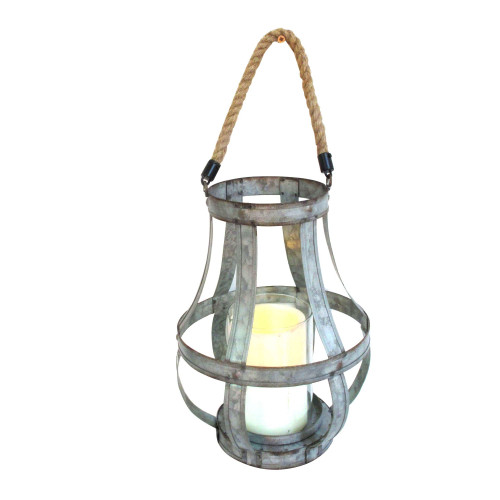 """11.5"""" Silver and Brown Rustic Lantern Style Candle Holder - IMAGE 1"""