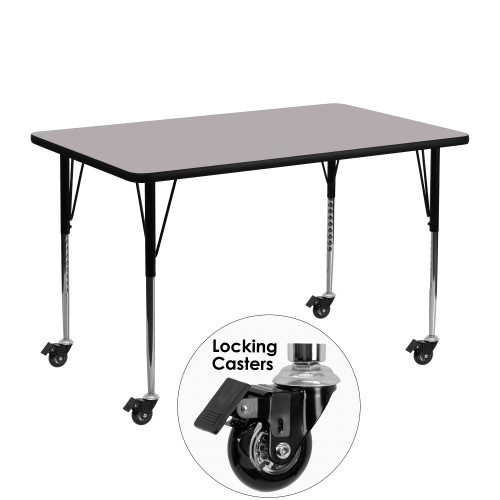 """48"""" Gray Rectangular Thermal Activity Table with Standard Height Adjustable Legs - IMAGE 1"""