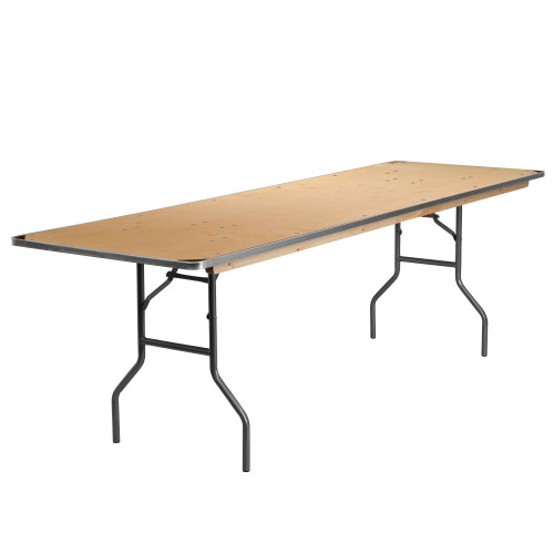 96'' Brown and Silver Contemporary Folding Banquet Table - IMAGE 1