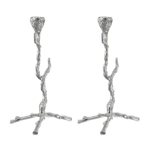 """Set of 2 Silver Distressed Alvada Candlestick Holders 16"""" - IMAGE 1"""