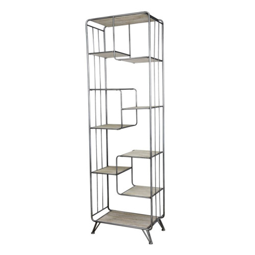 """75"""" Brown and Black Quimby Staggered Tall Bookshelf - IMAGE 1"""