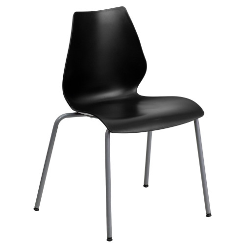 """31.5"""" Black Solid Stack Chair with Lumbar Support - IMAGE 1"""