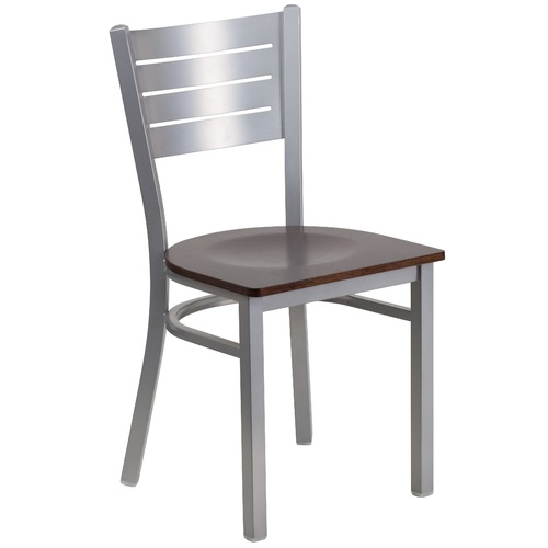 """33.5"""" Silver and Charcoal Black Restaurant Chair with Back - IMAGE 1"""