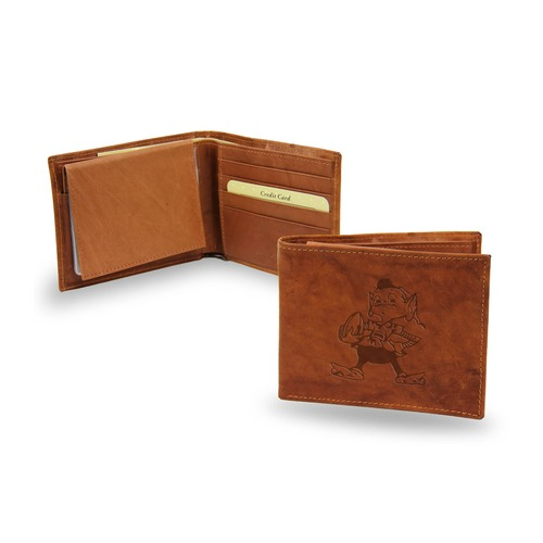"4"" Brown NFL Cleveland Browns Brownie Embossed Billfold Wallet - IMAGE 1"