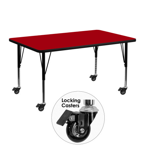"""48"""" Red Rectangular Thermal Activity Table with Height Adjustable Short Legs - IMAGE 1"""