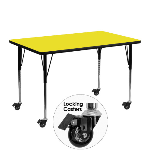 """48"""" Yellow Rectangular Activity Table with Standard Height Adjustable Legs - IMAGE 1"""