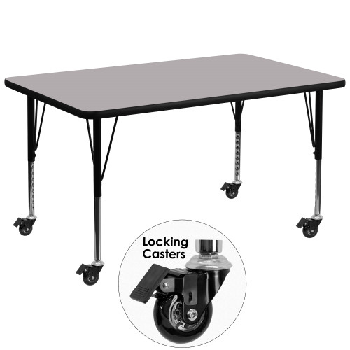 """48"""" Gray Rectangular Thermal Activity Table with Height Adjustable Short Legs - IMAGE 1"""