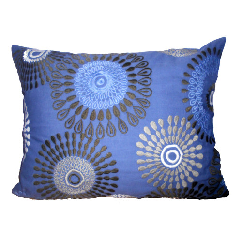 """20"""" Blue and Black Embroidered Rectangular Throw Pillow - IMAGE 1"""