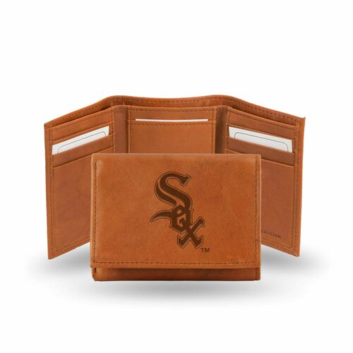 """4"""" Brown MLB Chicago White Sox Embossed Trifold Wallet - IMAGE 1"""