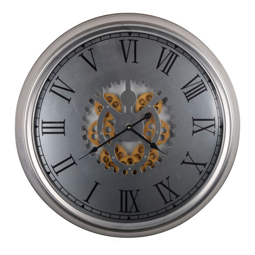 """24.25"""" Silver and Bronze Contemporary Wall Clock - IMAGE 1"""