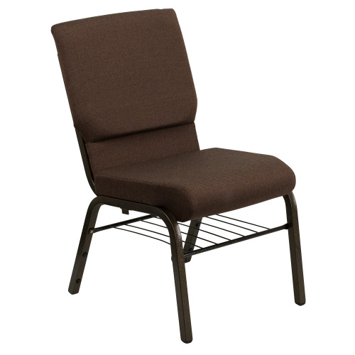 """33"""" Brown and Black Stacking Church Chair with Book Rack - IMAGE 1"""