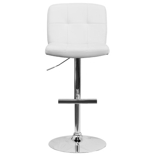 "48"" White Square Tufted Mid-Back Swivel Adjustable Height Bar Stool with Chrome Base - IMAGE 1"