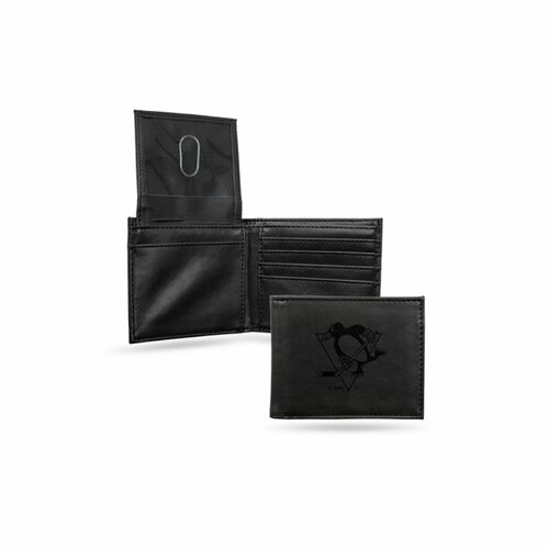 """4"""" Black NHL Pittsburgh Penguins Engraved Billfold Wallet - IMAGE 1"""