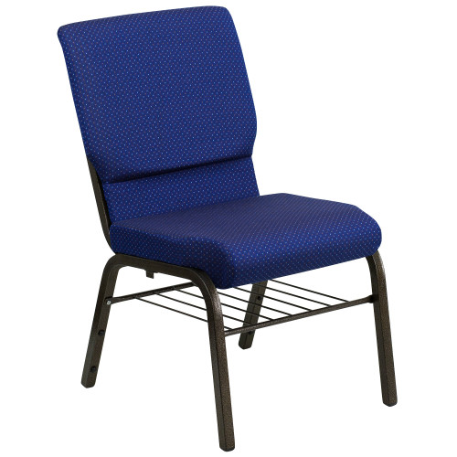 """33"""" Blue and Black Stacking Church Chair with Book Rack - IMAGE 1"""