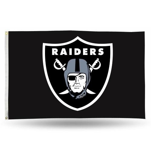 3' x 5' Black and White NFL Oakland Raiders Rectangular Banner Flag - IMAGE 1