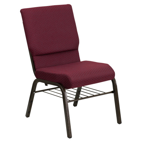 """33"""" Burgundy Red Stacking Church Chair with Book Rack - IMAGE 1"""