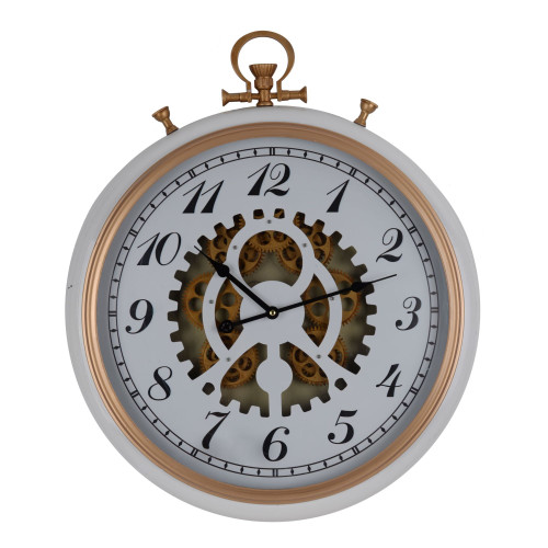 """24.25"""" White and Gold Classic Vintage Wall Clock with Mechanical Gears - IMAGE 1"""