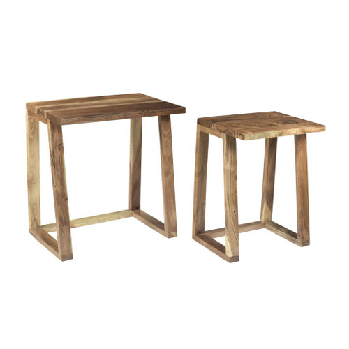 """Set of 2 Brown Classical Style Nesting Designed Rectangular Side Tables 22"""" - IMAGE 1"""