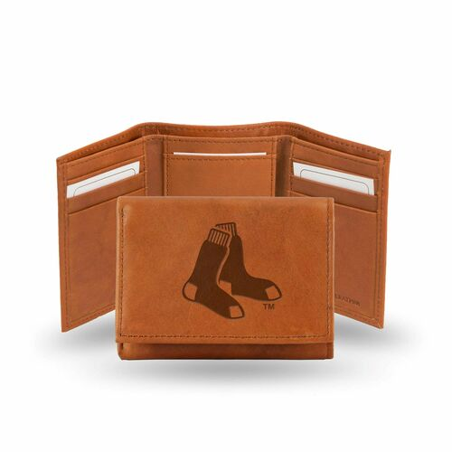 """4"""" Brown MLB Boston Red Sox Embossed Trifold Wallet - IMAGE 1"""