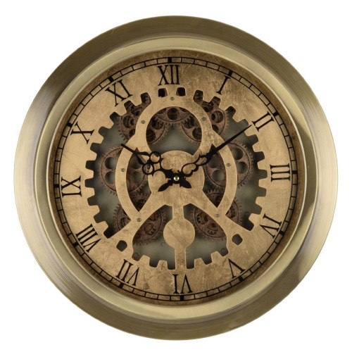 "18"" Gold and Black Traditional Round Wall Clock with Cut-Out Roman Numbers - IMAGE 1"